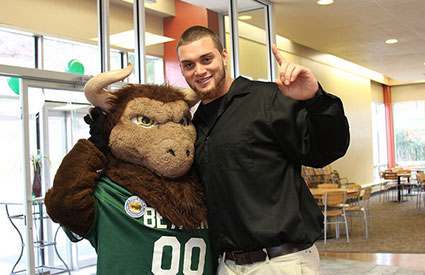 Boomer the Bison and students celebrated Bethany College's long-standing tradition as a bison community in honor of the first-annual National Bison Day. (Nov. 2012) <b>&copy;Bethany College</b>
